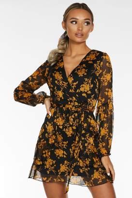 Quiz Black and Mustard Floral Skater Dress