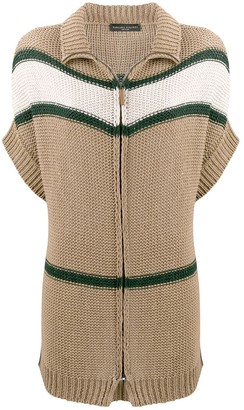 Fabiana Filippi Striped Short-Sleeved Cardi-Coat