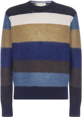 Marni Striped Mohair And Wool-blend Sweater
