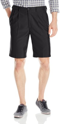 Haggar Men's Cool 18 Expandable Waist Solid Fill Oxford Weave Pleat Front Short