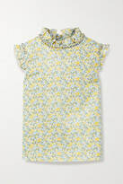 Thumbnail for your product : Horror Vacui Kristina Ruffled Floral-print Cotton-poplin Top - Green