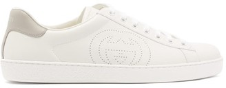 Gucci Ace Gg-perforated Leather Trainers - White