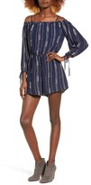 Lush Women's Stripe Cold Shoulder Romper