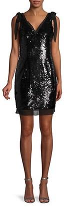 Aidan Mattox Sequin Tie-Shoulder Mini Dress