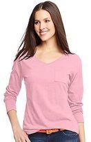 Hanes Women's V-Neck Long-Sleeve Pocket T-Shirt Women's Tops