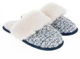 Accessorize Navy & Ecru Mule Slippers
