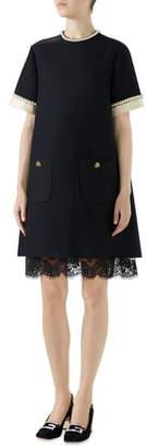 Gucci Imitation Pearl Trim Crepe Cady Dress
