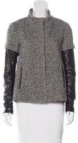 Veronica Beard Leather-Trimmed Wool-Blend Coat