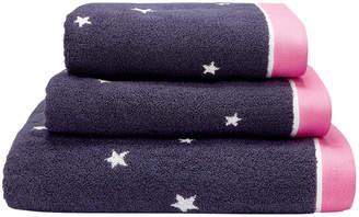 Joules Navy & Pink Star Towel - Hand Towel