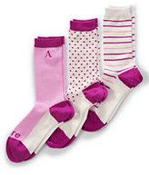 Classic Women's Print Seamless Crew Socks (3-pack)-Rich Raspberry