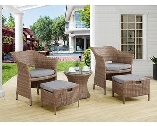 "Overstock Kokoli All-Weather Wicker Conversation Set- 2 Chairs, 2 Ottomans and 17""H Accent Table"