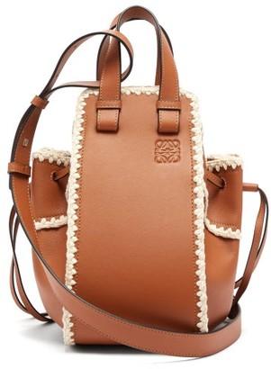 Loewe Hammock Small Crochet-trimmed Leather Bag - Tan Multi