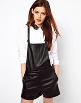 Asos Playsuit in Leather Look - Black