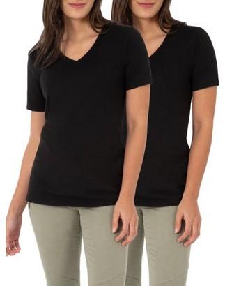 Time and Tru Women's Essential Short Sleeve V-Neck T-Shirt, 2 Pk Bundle