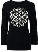 Classic Women's Plus Size Supima 3/4 Sleeve Intarsia Sweater-Black Snowflake