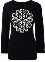 Lands' End Women's Tall Supima 3/4 Sleeve Intarsia Sweater-Black Snowflake