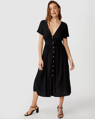Cotton On Woven Clover Short Sleeve Midi Dress