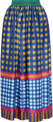 Stella Jean Metallic-trimmed Printed Sateen Midi Skirt