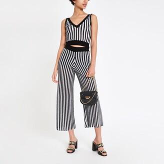 River Island Womens Black stripe knitted crop top