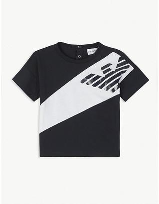 Emporio Armani Striped logo-print cotton T-shirt 6-36 months