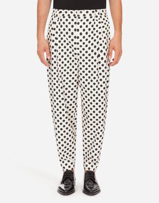 Dolce & Gabbana Polka-Dot Print Cotton Pants