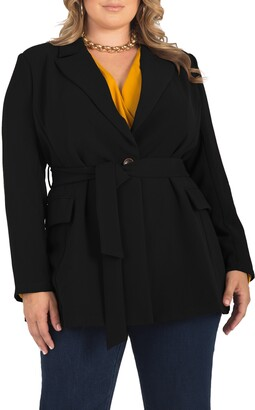 Standards & Practices Gina Belted Crepe Blazer