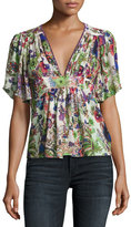 Roberto Cavalli Bell Heather Printed V-Neck Blouse, White/Multi