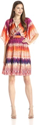 Sangria Women's Kimono Sleeve V-Neck Ombre Python Print Fit and Flare Dress