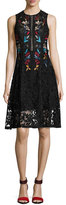 Sachin + Babi Dewdrop Sleeveless Floral Lace Cocktail Dress, Black