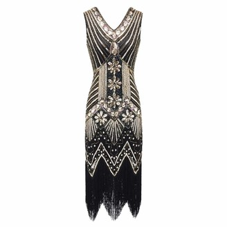 IMEKIS Women Flapper Dress Vintage 1920s Style Sleeveless V-Neck Beaded Fringed Sequin Evening Dresses Great Gatsby Theme Party Gown Wedding Cocktail Prom Dress Gold 2XL