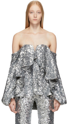 Halpern Silver Sequin Fall Away Bustier