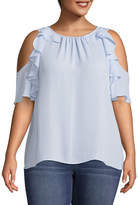 BELLE + SKY Ruffle Cold Shoulder Round Neck Woven Blouse - Plus