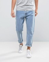 Weekday Drift Loose Cropped Jeans Lagoon Blue Wash