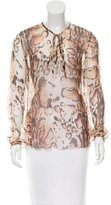 L'Agence Leopard Printed Silk Blouse