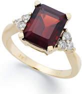 Macy's 14k Gold Ring, Emerald-Cut Garnet (3-1/2 ct. t.w.) and Diamond (1/4 ct. t.w.) Ring