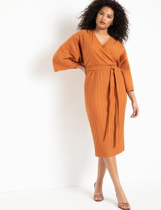 ELOQUII Pleated Wrap Dress