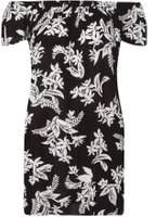 Dorothy Perkins Womens Black And White Floral Print Tunic- Black