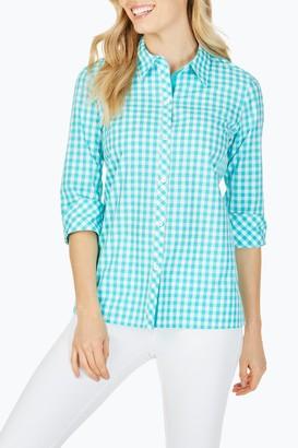 Foxcroft Morgan Gingham 3/4 Sleeve Shirt