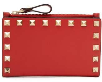 Valentino Rockstud Leather Card And Coin Purse - Womens - Red