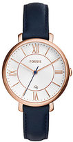 Fossil Jacqueline Rose Goldtone Stainless Steel Navy Leather Strap Watch