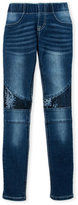 Vigoss Girls 7-16) Pull-On Sequin Accented Skinny Jeans