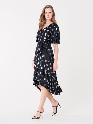 Diane von Furstenberg Sareth Silk-Metallic Jacquard Wrap Dress