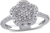 Laura Ashley 1/4 CT TW Diamond 10K White Gold Cluster Flower Fashion Ring