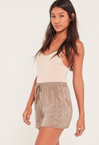Missguided Nude Lace Hem Hammered Satin Shorts
