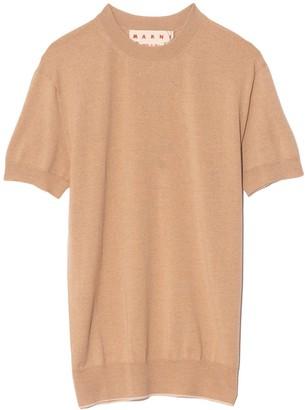 Marni Short Sleeve Sweater in Tan