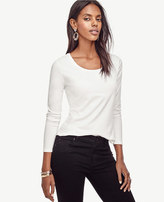 Ann Taylor Cotton Scoop Neck Long Sleeve Tee