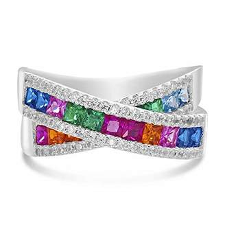 INSPIRED BY YOU. Rhodium Plated Sterling Silver Square Shaped Channel Set Rainbow Color Cubic Zirconia X Bypass Right Hand Ring for Women ( Size 8)