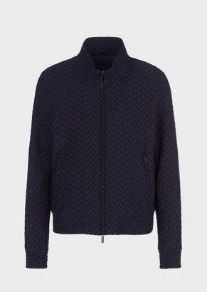 Emporio Armani Full-Zip Jacket In Raised Chevron Two-Way Stretch Fabric