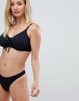 Thumbnail for your product : Pour Moi? Pour Moi Escape high waist bikini bottom in black rib