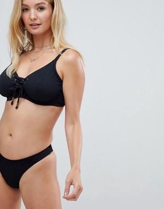 Pour Moi? Pour Moi Escape high waist bikini bottom in black rib